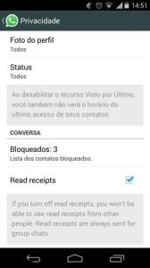 whatsapp opcap desabilita opcao lida