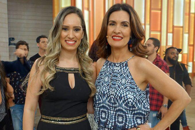 A dentista Amanda Mattos com a apresentadora Fátima Bernardes. Foto: Juliana Hippert/Gshow