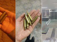 Eles atiraram na porta da agência (Foto: PM/Divulgação)